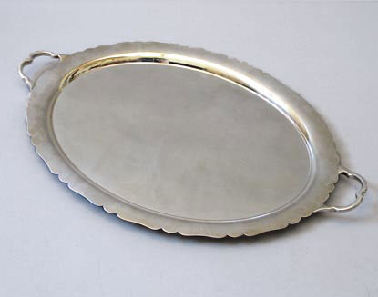 Scalloped Edge Silver Plate Tray